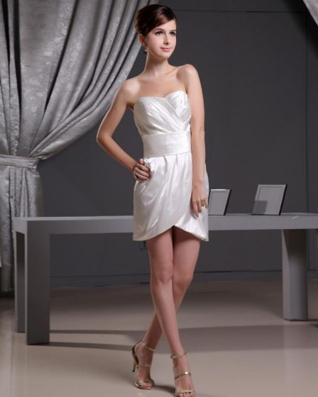 Imitaion Silk Ruffle Sweetheart Thigh Length Women Mini Wedding Dress