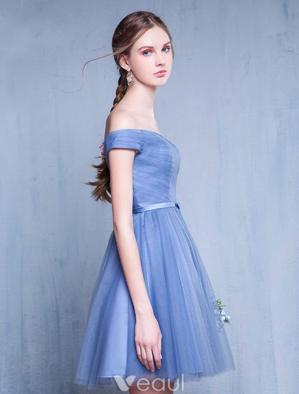 Bridesmaid Dresses 2016 Off The Shoulder Ruffle Blue Tulle Short Dress