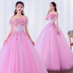 Elegant Candy Pink Prom Dresses 2019 Ball Gown Off-The-Shoulder Pearl Lace Flower Appliques Short Sleeve Backless Floor-Length / Long Formal Dresses