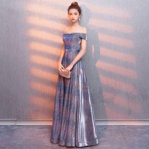 Modern / Fashion Starry Sky Purple Evening Dresses  2019 A-Line / Princess Off-The-Shoulder Glitter Polyester Sash Short Sleeve Backless Floor-Length / Long Formal Dresses