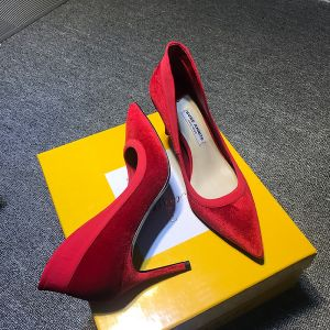 Modest / Simple Casual Burgundy Suede Pumps 2020 8 cm Stiletto Heels Pointed Toe Pumps