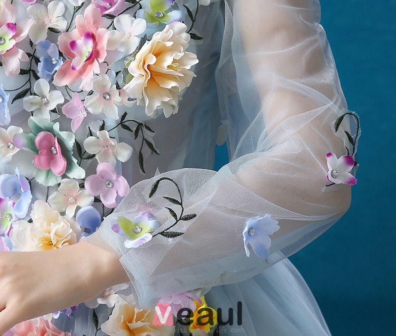Bloem Fee Jurk 2016 Lange Mouwen Backless Handgemaakte Kleurrijke Bloemen Lang Galajurken