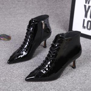 Mode Schwarz Strassenmode Lackleder Ankle Boots Stiefel Damen 2020 Leder 7 cm Stilettos Spitzschuh Stiefel