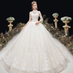 Classy Ivory Wedding Dresses 2020 Ball Gown High Neck Beading Sequins Lace Flower 3/4 Sleeve Backless Chapel Train