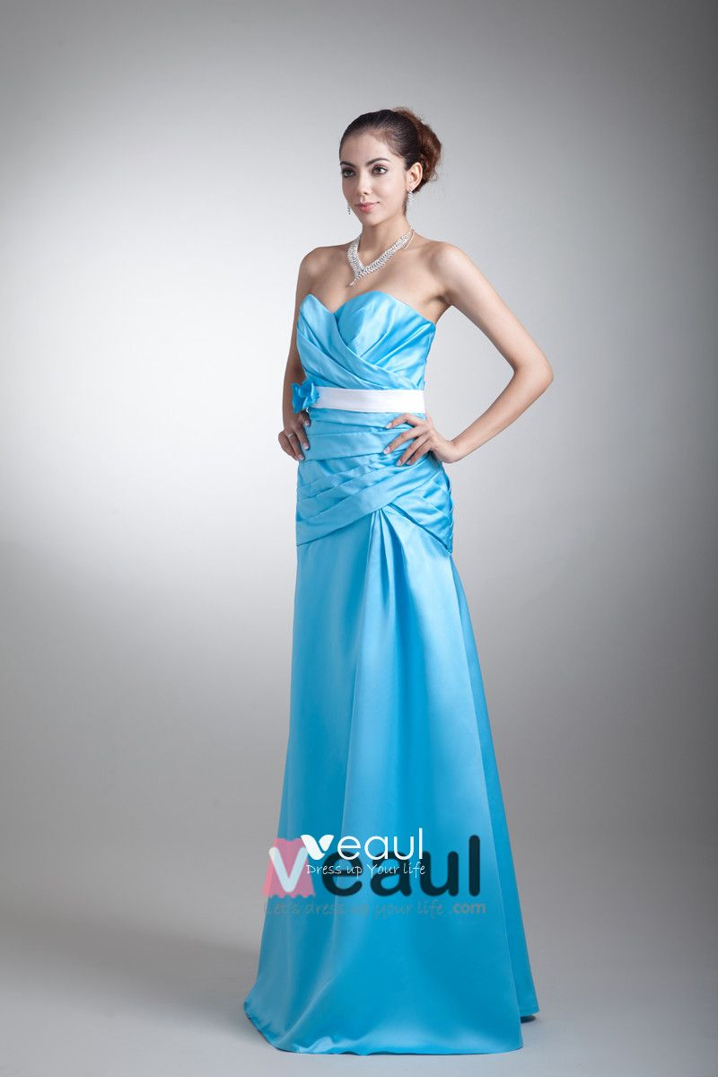 Satin Ruffle Flower Sweetheart Floor Length Bridesmaid Dress