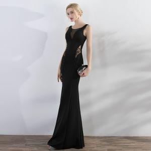 Schöne Schwarz Abendkleider 2017 Mermaid Perlenstickerei Rundhalsausschnitt Reißverschluss Ärmellos Rückenfreies Lange Abend