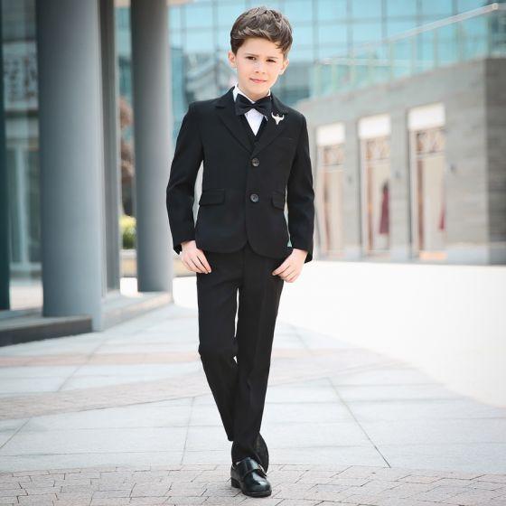 Modest / Simple Black Long Sleeve Boys Wedding Suits 2018