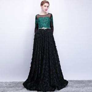 Chic / Beautiful Black Dark Green See-through Prom Dresses 2018 A-Line / Princess Scoop Neck Long Sleeve Appliques Lace Metal Sash Floor-Length / Long Ruffle Formal Dresses