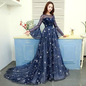 Modern / Fashion Navy Blue Evening Dresses  2019 A-Line / Princess Scoop Neck Star Sequins Bell sleeves Backless Court Train Formal Dresses