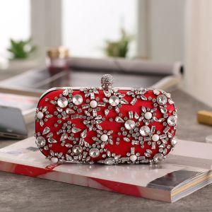 Chic / Belle Faux Diamant Rouge Carrés Pochette 2020