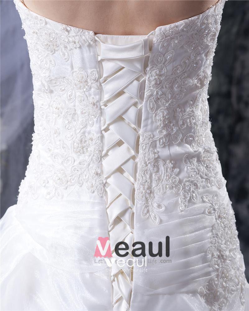Organza Satin Applique Ruffles Beading Court A-Line Bridal Gown Wedding Dress