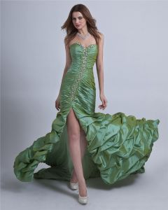 Taffeta Ruffle Floor-Length Prom Dress