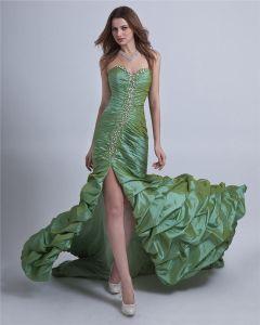 Taffeta Ruffle Floor-Length Prom Dress