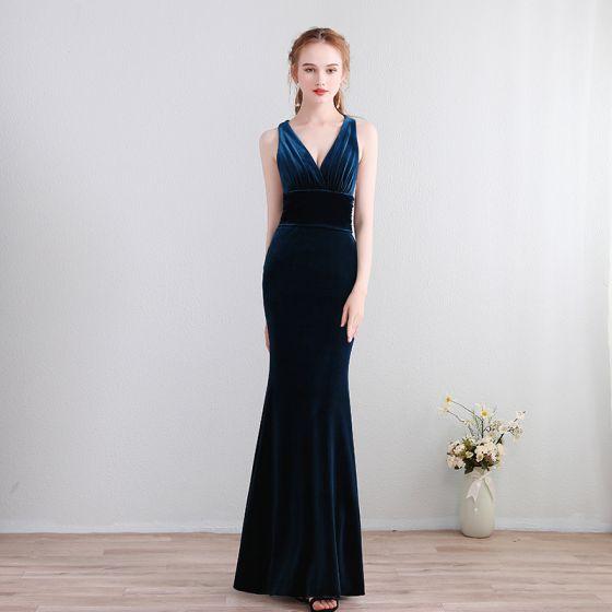 63fdadcb152e00 Proste / Simple Długie Granatowe Sukienki Wieczorowe 2018 Syrena /  Rozkloszowane Charmeuse V-Szyja Bez Pleców Wieczorowe Sukienki Wizytowe