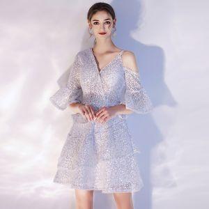 Mode Grau Heimkehr Abiballkleider 2020 A Linie V-Ausschnitt Kurze Ärmel Glanz Pailletten Kurze Rüschen Rückenfreies Festliche Kleider