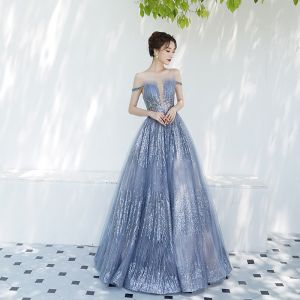 Charming Sky Blue Evening Dresses  2019 A-Line / Princess Off-The-Shoulder See-through Deep V-Neck Short Sleeve Glitter Tulle Floor-Length / Long Ruffle Backless Formal Dresses