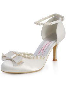 Ronde Satin Perle Noeud Ensemble Douces Chaussures De Mariée Chaussures De Noce