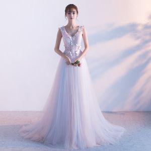 Elegante Rosa Abendkleider 2018 A Linie V-Ausschnitt Ärmellos Schmetterling Applikationen Mit Spitze Watteau-falte Rüschen Rückenfreies Festliche Kleider