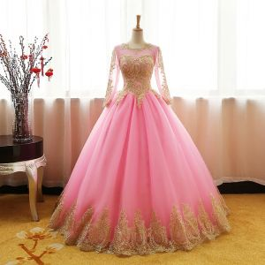 Chic / Beautiful Candy Pink Prom Dresses 2017 Ball Gown Scoop Neck Long Sleeve Gold Appliques Lace Floor-Length / Long Ruffle Pierced Backless Formal Dresses