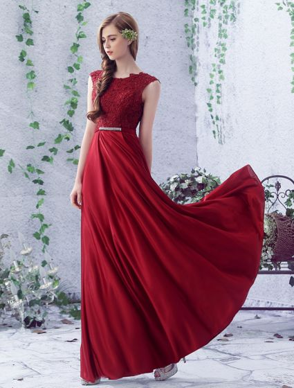 2016 Simple Scoop Neckline Applique Thick Lace Burgundy Satin Backless Long Evening Dress With Silver Sash