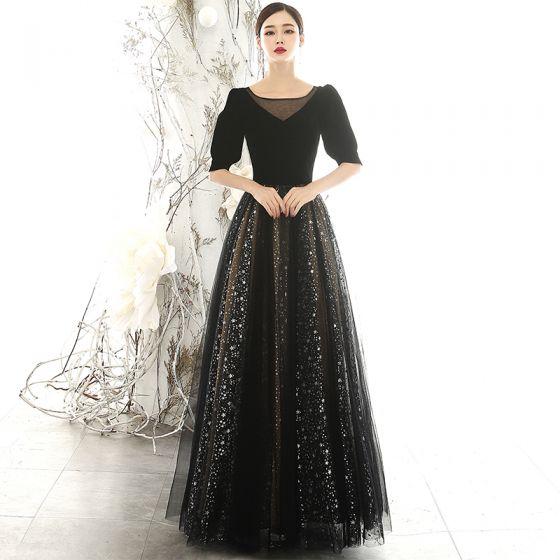 Vintage Svarta Mocka Aftonklänningar 2020 Prinsessa Fyrkantig Ringning Pösigt 1/2 ärm Glittriga / Glitter Stjärna Tyll Långa Ruffle Halterneck Formella Klänningar