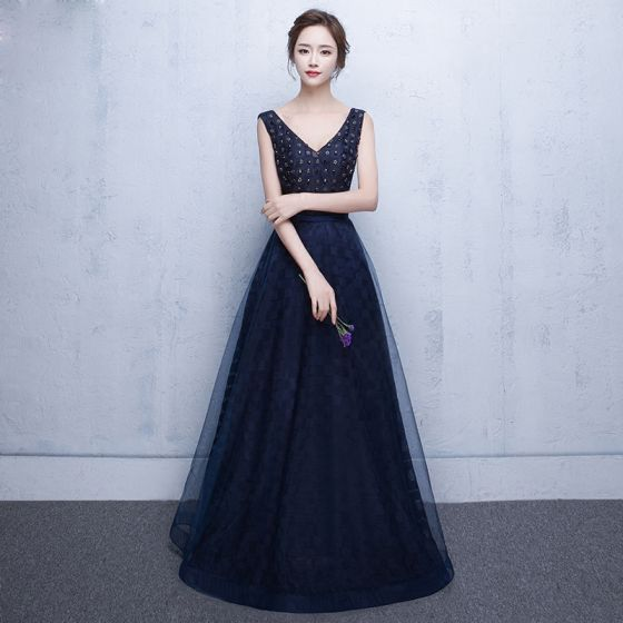 Chic / Beautiful Royal Blue Evening Dresses  2017 A-Line / Princess V-Neck Tulle Backless Rhinestone Beading Evening Party Formal Dresses
