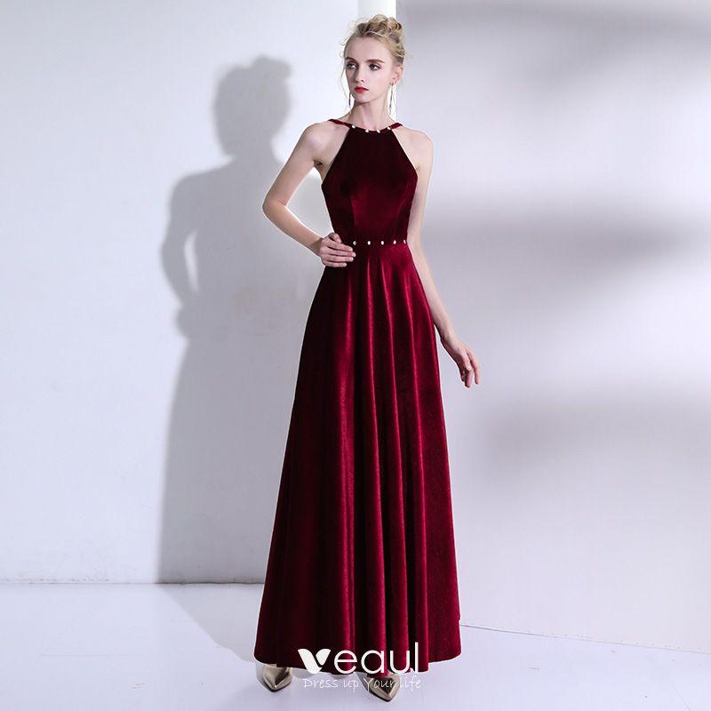 Moda Borgoña Largos Vestidos De Noche 2018 A Line Princess Charmeuse Sin Espalda Rebordear Vestidos Formales