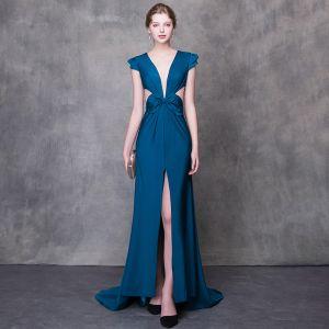 Moderne / Mode Bleu D'encre Robe De Soirée 2018 Trompette / Sirène V-Cou Mancherons Fendue devant Tribunal Train Dos Nu Robe De Ceremonie