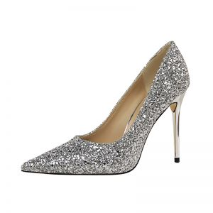 Silver Wedding Sequins High Heels Stiletto Heels 9 cm Pumps Pointed Toe Sparkly 2019 Wedding Shoes