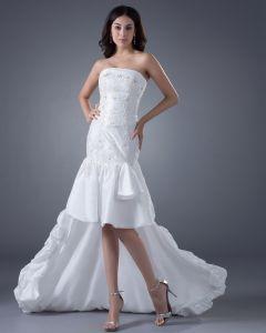 Taft Ruches Strapless Asymmetrische Bruidsjurken Korte Trouwjurken