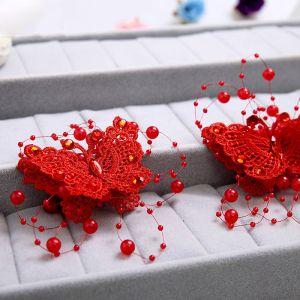 Røde Blonder Håndlavede Blomster Sommerfugl Perle Brude Hovedklæde / Hårnålen / Rød Cheongsam Tilbehør