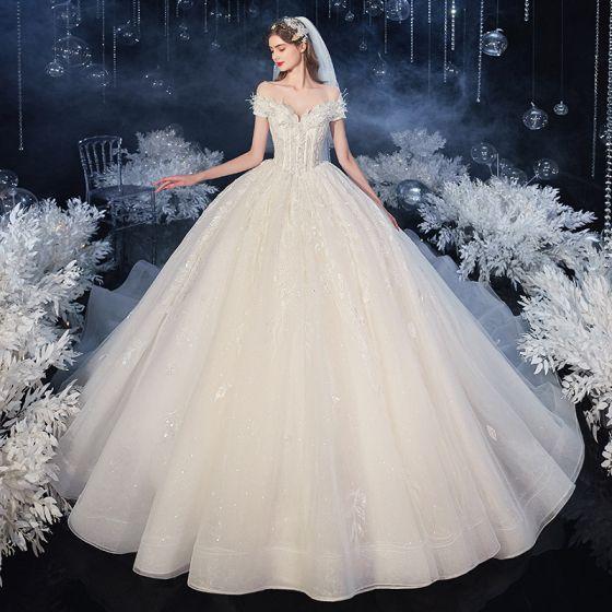 Moda Szampan Suknie Ślubne 2020 Suknia Balowa Przy Ramieniu Frezowanie Cekiny Z Koronki Kwiat Bez Rękawów Bez Pleców Trenem Królewski