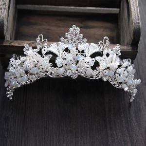 Unieke Zilveren Bruidssieraden 2017 Metaal Kralen Kristal Rhinestone Huwelijk Gala Accessoires