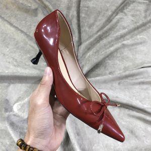 Chic / Beautiful Burgundy Street Wear Leather Pumps 2020 Bow 3 cm Stiletto Heels Pointed Toe Low Heel Pumps