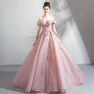 Amazing / Unique Blushing Pink Floor-Length / Long Prom Dresses 2018 Lace-up Tulle Appliques Backless Beading Strapless Ball Gown Formal Dresses