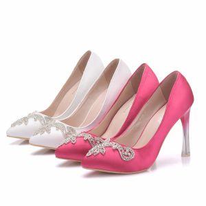 Chic / Beautiful White Wedding Shoes 2018 Rhinestone 10 cm Stiletto Heels Pointed Toe Wedding Pumps