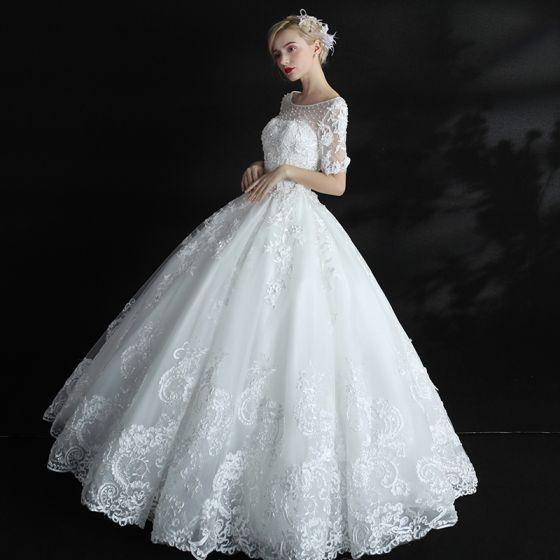 Chic / Beautiful Hall Wedding Dresses 2017 Lace Appliques Pearl Sequins Scoop Neck Short Sleeve Backless Floor-Length / Long White Ball Gown