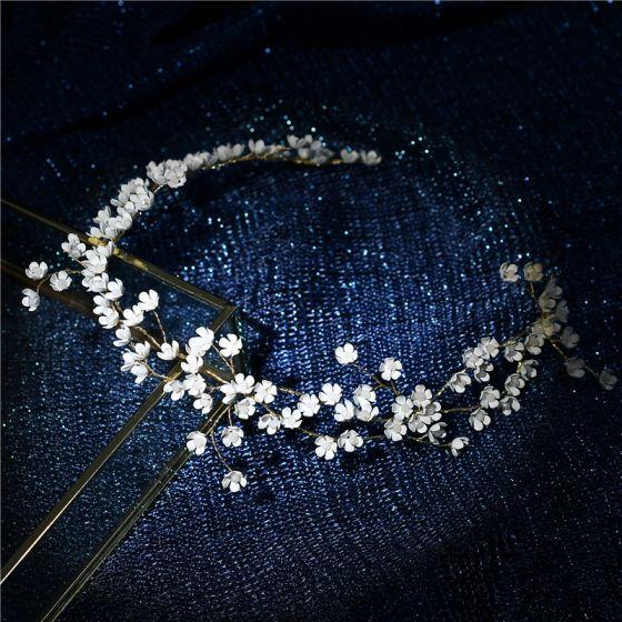 Eleganckie Złote Ozdoby Do Włosów Biżuteria Ślubna 2020 Metal Frezowanie Kwiat Opaski na głowę Kolczyki Ślub Akcesoria