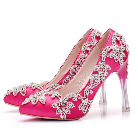 Charming Fuchsia Wedding Shoes 2018 Rhinestone 8 cm Crystal Stiletto Heels Pointed Toe Wedding Pumps