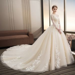 Modern / Fashion Champagne Wedding Dresses 2018 Ball Gown Appliques Lace Sequins Scoop Neck Backless 3/4 Sleeve Cathedral Train Wedding