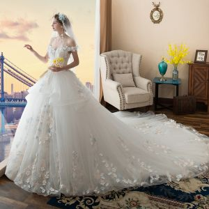 Chic / Beautiful White Wedding Dresses 2017 Ball Gown Off-The-Shoulder Short Sleeve Backless Appliques Flower Leaf Pearl Cathedral Train