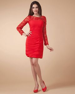Satin V Neck Long Sleeve Knee Length Party Dresses