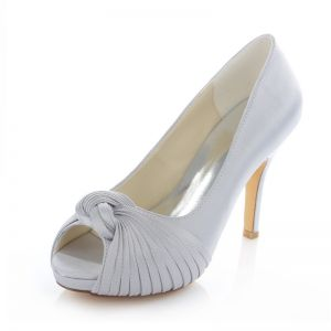 Classic Silver Satin Bridal Shoes Stiletto Heels Pumps 4 Inch High Heel Peep Toe