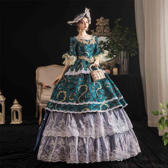 Vintage / Retro Medieval Dark Green Ball Gown Prom Dresses 2021 U-Neck Floor-Length / Long 1/2 Sleeves 3D Lace Flower Printing Cosplay Prom Formal Dresses