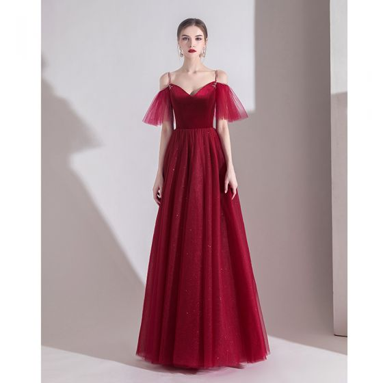 Modest / Simple Solid Color Burgundy Evening Dresses  2020 A-Line / Princess Spaghetti Straps Suede Short Sleeve Backless Floor-Length / Long Formal Dresses