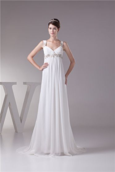 2015 Charming Empire V-neck Straps Beading Appliques Wedding Dress Bridal Gown