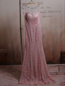 Snygga Rosa Aftonklänning Borrade Spets Långa Balklänning 2016