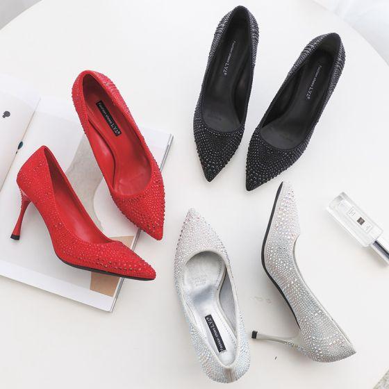 Moderne / Mode Argenté Chaussure De Mariée 2019 Faux Diamant 8 cm Talons Aiguilles À Bout Pointu Mariage Escarpins