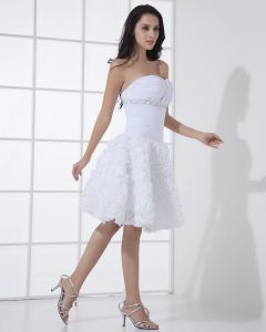 Satin Lace Sweetheart Short Bridal Gown Wedding Dress
