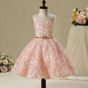 Chic / Beautiful Hall Wedding Party Dresses 2017 Flower Girl Dresses Pearl Pink Short Ball Gown Scoop Neck Sleeveless Backless Rhinestone Metal Sash Appliques Flower